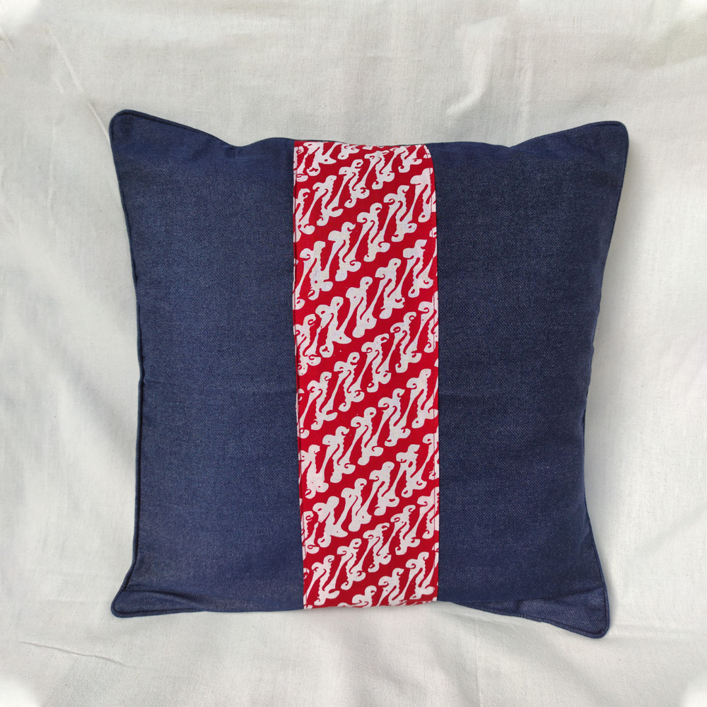 Denim with Red Batik Stripe Cushion Cover