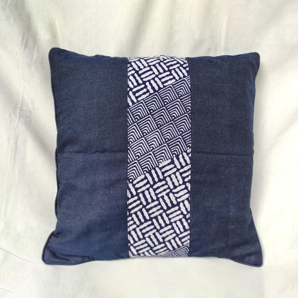 Denim with Blue Batik Stripe Cushion Cover