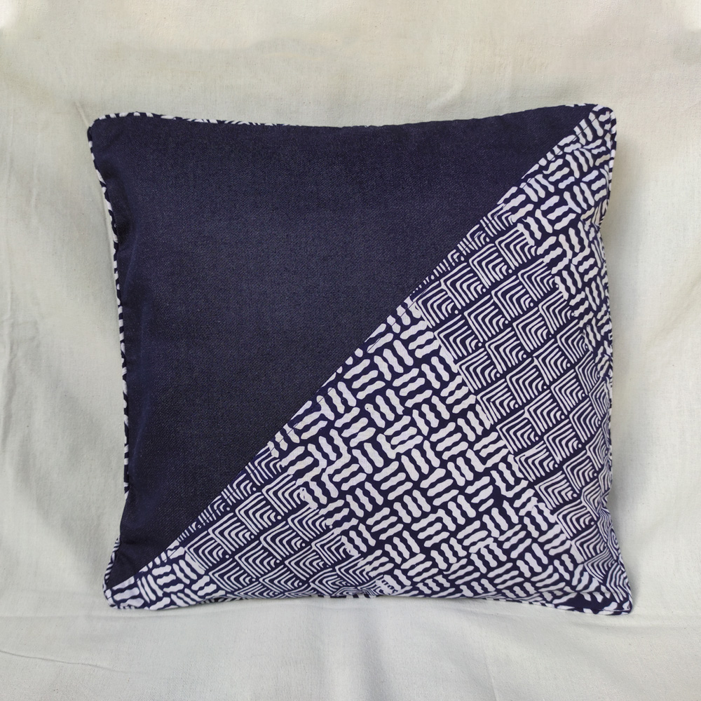 Blue Batik Half Denim Cushion Cover