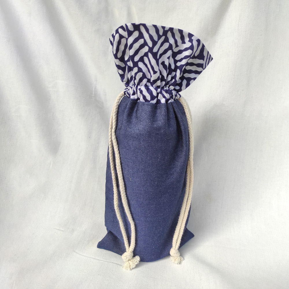 Blue Batik with Denim Wine Bottle Wrapper